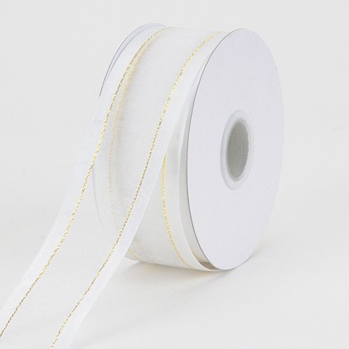 BBCrafts 1-1/2 inch x 25 Yards Two Striped Satin Edge Organza Ribbon Decoration Wedding Party (White with Gold Edge)