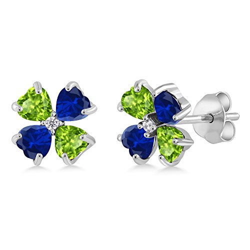 Gem Stone King 1.59 Ct Green Peridot Blue Simulated Sapphire 925 Sterling Silver Earrings