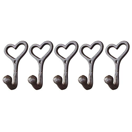 Light-Ren 5Pcs/Pack Metal Wall Hook Love Heart Shaped Brown Color Key Wall Coat Hooks for Home Decorations Ships from US(Without Nail) ()
