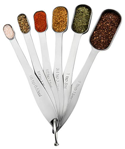 Spring Chef Heavy Duty Stainless Steel Metal Measuring Spoons for Dry or Liquid, Fits in Spice Jar, Set of 6 (Spoons Steel Measuring Stainless Steel)