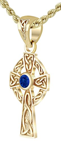 Sapphire Cross Celtic - US Jewels And Gems New Small Solid 14k Yellow Gold Irish Celtic Cross Synthetic Sapphire Pendant Necklace