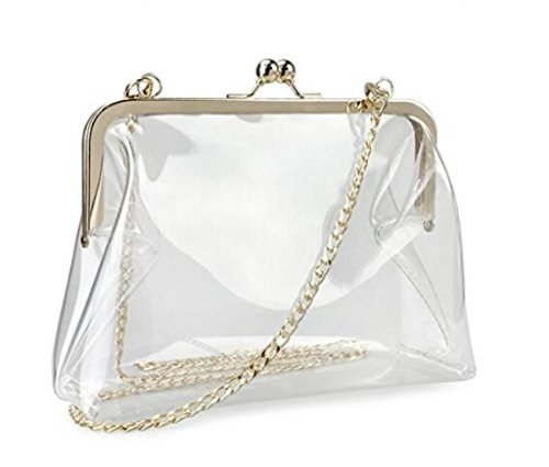 Louise Maelys Clear PVC Chain Cross Body Bag Transparent Clutch for Women