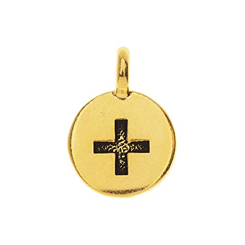 TierraCast Pewter Charm, Round Plus Symbol 17x12mm, 1 Piece, Gold Plated ()