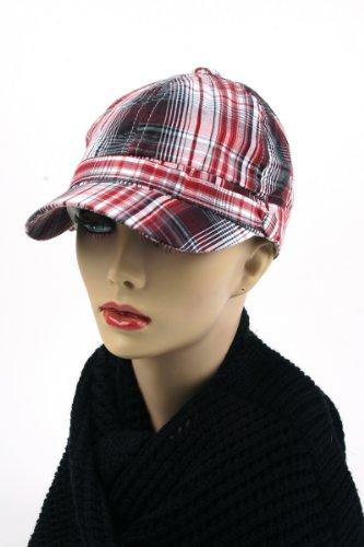 Pop Unisex 3 Button Plaid Cadet Style Cap Hat Red
