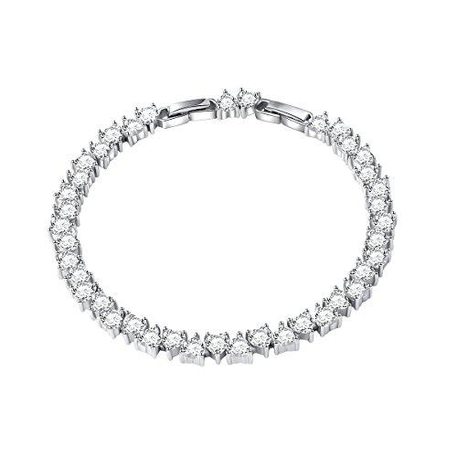 S925 Sterling Silver Heart CZ Tennis Bracelet Wedding Bangle ()