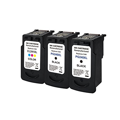 3 Pack Remanufactured Ink Cartridge Replacement For Canon 240XL PG 240 XL& CL 241XL (2Black,1Color)With Ink Level Indicator Used In PIXMA 2120 2220 3120 3220 4120 4220 MX372 432 512