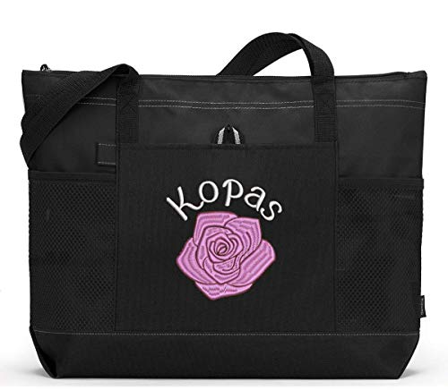 Single Rose Flower Personalized Embroidered Tote Bag with Mesh Pockets