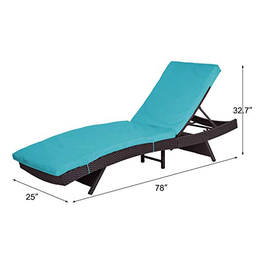 Peachtree Press Inc Peach Tree Outdoor Patio PE Rattan Wicker Adjustable Chaise Lounge Chair w/Blue by Peachtree Press Inc (Image #5)
