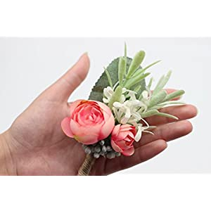 Yokoke Artificial Succulent Boutonniere Bouquet Corsage Wristlet Vintage Silk Fake Pink Flowers flocked Plants For Groom Bride Wedding Decor 2 Pcs 4