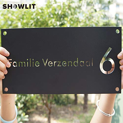 [해외]Showlit 2mm Custom Black Home Number Plate Bent Home Number Plaques Custom Made Available / Showlit 2mm Custom Black Home Number Plate Bent Home Number Plaques Custom Made Available
