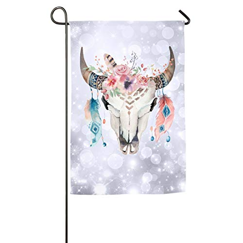 Sakanpo Boho Chic Cow Skull Feathers & Flowers Home Family Party Flag 101 Hipster Welcomes The Banner Garden Flags