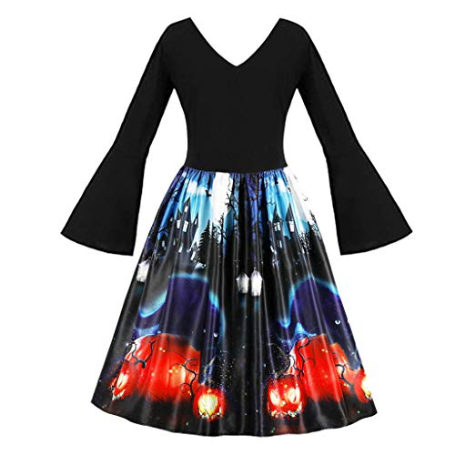 Print Prom Dresses 2005 - Hotopick Halloween Costume Women's Long Sleeve Pumpkins Vintage Evening Prom Costume Dress Christmas Clothes Red