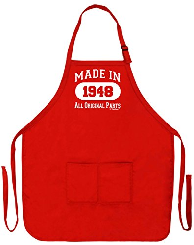 - 70th Birthday Gift Made in 1948 Funny Apron for Kitchen BBQ Barbecue Cooking Baking Crafting Gardening Two Pocket Apron Birthday Gifts Red
