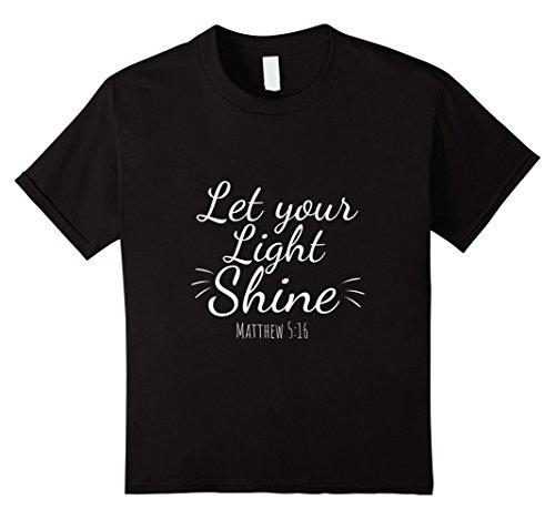 Kids Let Your Light Shine Matthew 5:16 Christian T-shirt 8 Black