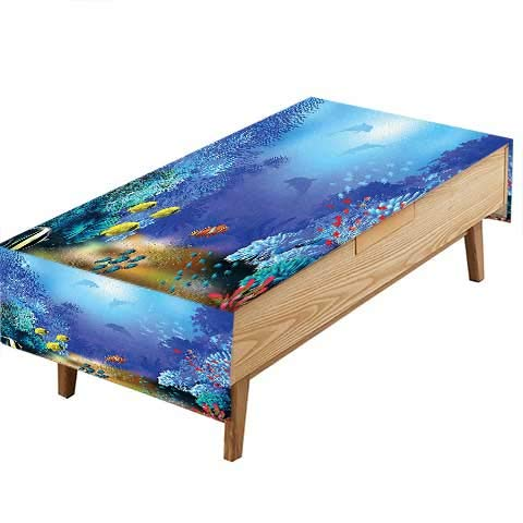 PINAFORE 100% Polyester, Eco-Friendly Safe Decor Underwater Coral Reef Polyps Algae Dolphins Goldfishes Bubbles Deep Print Blue Heat Moisture Resistance Indoor Outdoor Table Covers W60 x L84 INCH (Polyp Coral Star)