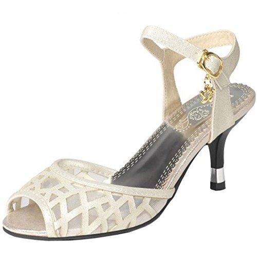 TAOFFEN Mujer Moda Tacon Medio Sandalias Peep Toe Mini Tacon Zapatos De Hebilla Oro