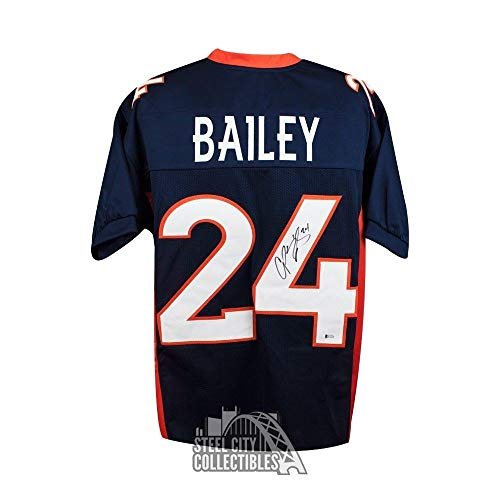 Champ Bailey Autographed Signed Denver Broncos Custom Blue Football Jersey - Signature - Beckett Authentic