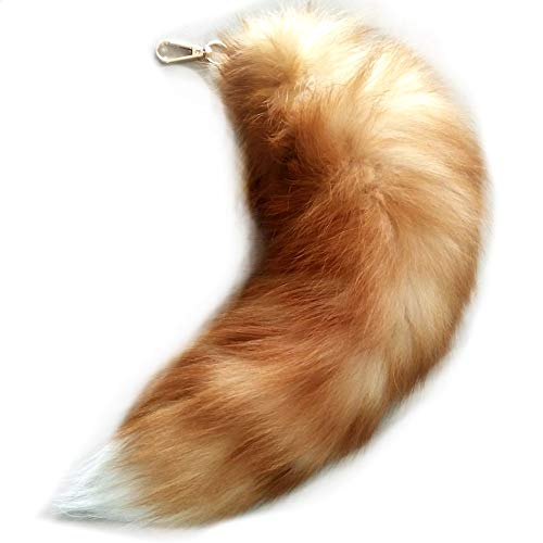 Mounan Real Fox Tail Keychain Fluffy Fur Tail for Kids Costume Cosplay (Crystal, L)]()