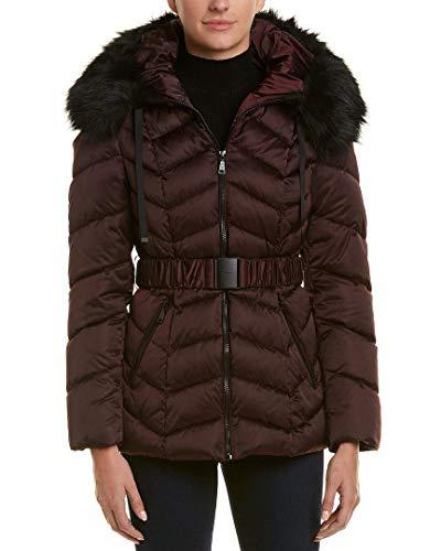 T Tahari Women's Leon Faux Fur Trim Hood Belted Coat Short Jacket Merlot (S)
