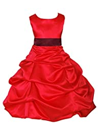 ekidsbridal Red Satin Pick-Up Bubble Flower Girl Dresses Special Occasions 806S