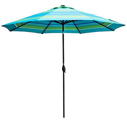 - Abba Patio Outdoor Umbrella 11-Feet Table Umbrella with Push Button Tilt and Crank Lift, Turquoise Striped