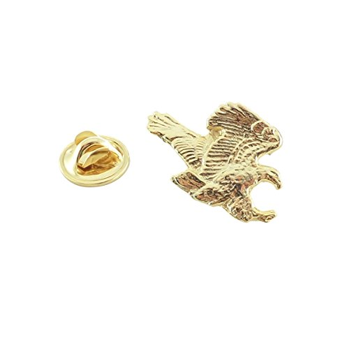Creative Pewter Designs, Pewter Flying Bald Eagle Mini Pin, Gold Plated, BG051MP