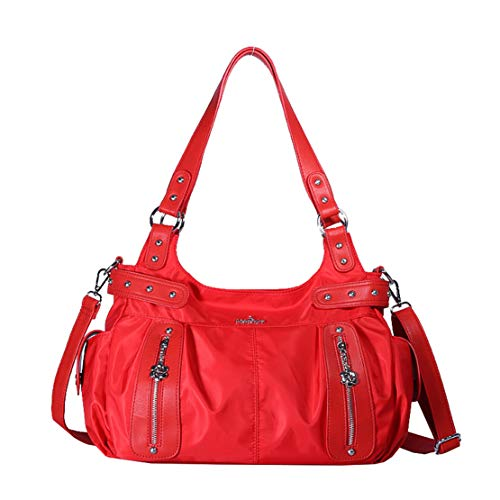Casual Pu Borsa Shopping Resistenti Smnyi Grande Capacità Leather Shoulder Fashion Multifunzione A Bag Messenger Handbag Borse Rosso Tracolla Impermeabile Donna 055qa
