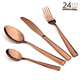 Silverware Set, Lekoton 24 pcs Stainless Steel Flatware Set Service for 6 Kitchen Tableware Set Dinnerware Dinner Knife Fork Spoon Cutlery Utensil Set for Home Restaurant Hotel Classic Copper