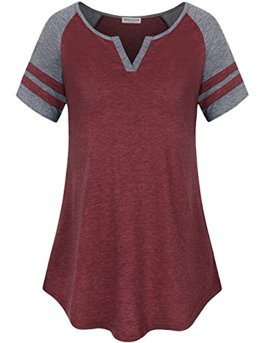 Baseball Womens V-neck (MOOSUNGEEK Raglan Tshirt, Women's Raglan Sleeve Baseball T-Shirt Tunic Tops Red Gray M)
