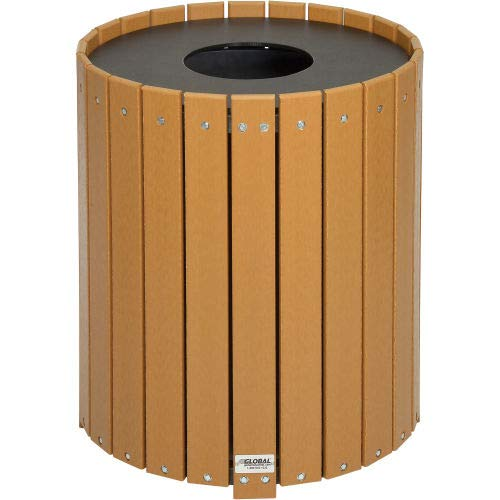 (Global Industrial 32 Gallon Round Recycled Plastic Receptacle W/Liner, Cedar)