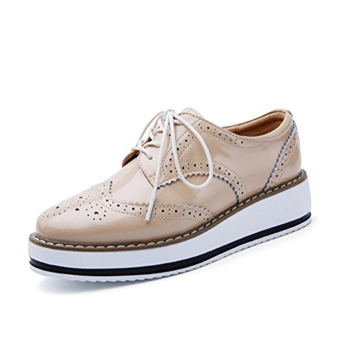T-JULY Womens Fashion Oxfords Shoes - Comfy Perforated Lace-up Thick Sole Round Toe Shoes Apricot Yy6fh