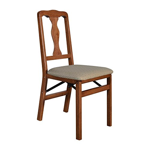 Meco STAKMORE Queen Anne Folding Chair Cherry Finish, Set of 2, by MECO