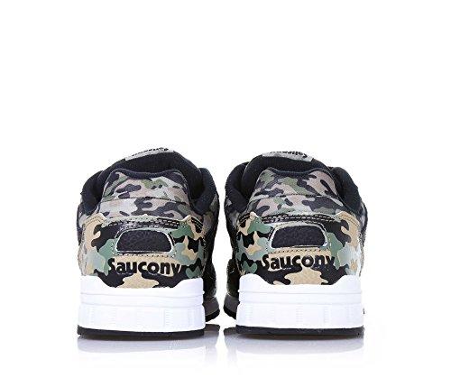 SAUCONY - Basket à lacets camouflage et noire, en cuir et nylon, applications en cuir, logo à l'arrière, garçon, garçons
