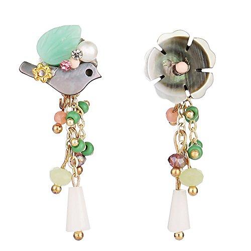 Flower Crystal Dangle Earrings Tassel Beaded Drop Earrings for Women Girls Birthday Gifts