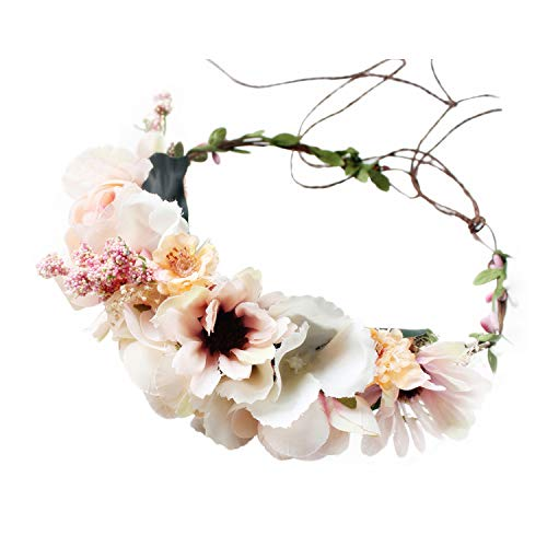 Handmade Adjustable Flower Wreath Headband Halo Floral Crown Garland Headpiece Wedding Festival Party (A18-pink+Light Green)