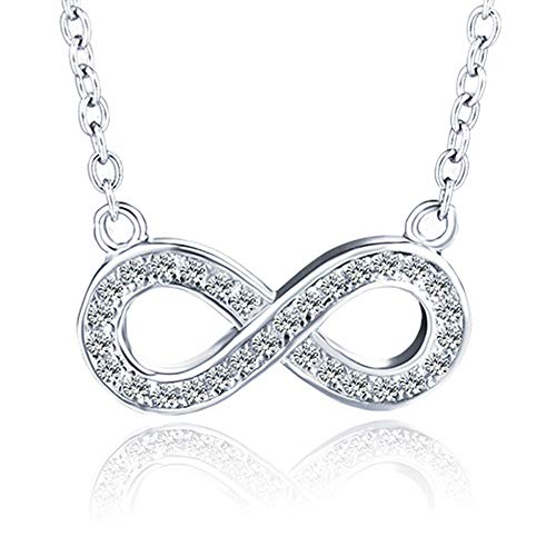 Kavindas Sterling Silver Necklace-Adjustable Infinity Pendant Necklace Chain for Women, Rhodium Plated Hypoallergenic Necklace, for Girls and Women, Infinity Shape Inlaid by Sparkle Cubic Z ()