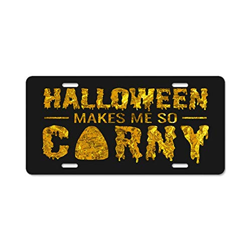 ASLGlicenseplateframeFG Beautiful Metal License Plate Funny Halloween Autumn Costume High Gloss Aluminum Novelty Car Licence Plate Cover Auto Tag Holder 12inch; x 6inch; -