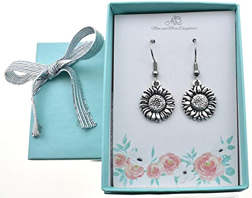 Sunflower earrings in silver plated pewter. Sunflower earrings. Sunflower gifts. Sunflower Jewelry. Sunflower charm. Sunflower ()