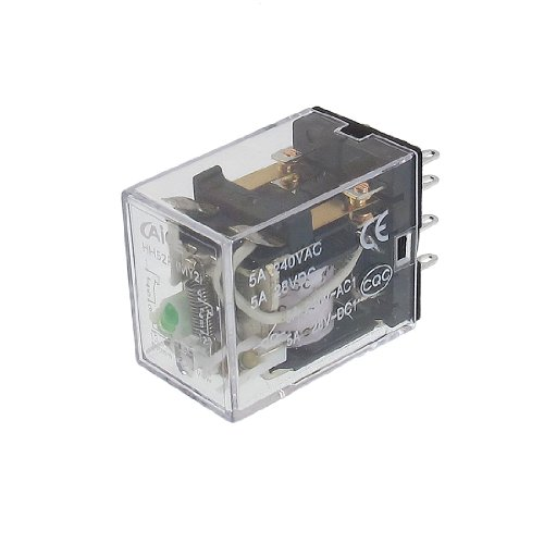 uxcell® HH52P MY2 24VDC Coil Voltage 2P2T 8 Pins 5A Green LED Light Power Relay