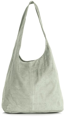 LIATALIA Womens Large Italian Suede Leather Single Shoulder Strap Hobo Slouch Bag with Storage Bag - SHAY [Light Beige (2018)]