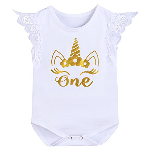 (OBEEII Baby Girl First Birthday Romper Tutu Dress Unicorn Bodysuit One Piece Clothes Lace Sleeve Unicorn White 12-18M )