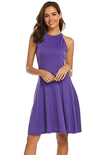 Qearal Fit and Flare Summer Dresses for Women Sleeveless Halter A-line Sundress (Purple, ()