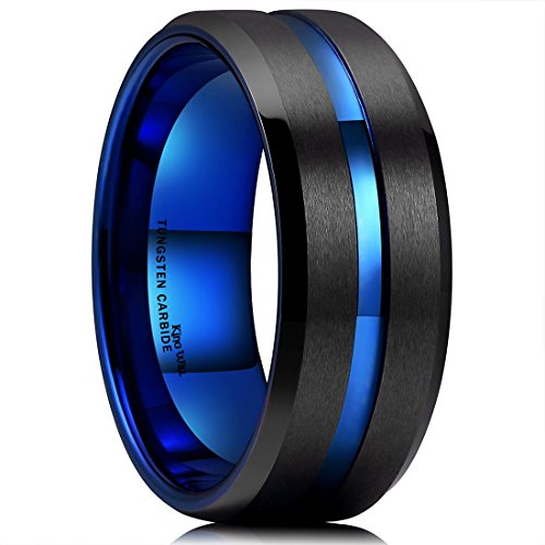 King Will Duo Mens 10mm Black Matte Finish Tungsten Carbide Ring Blue Beveled Edge Wedding Band (15.5) ()