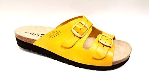ARTIKA mule cuir modèle BASQUE jaune