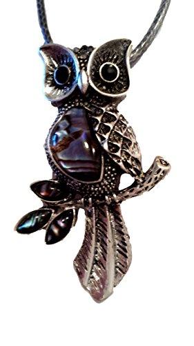 Lunar Lily Animal Bling Jewelry Pendant Necklace (Leaf Branch Owl) (Lunar Leaf)