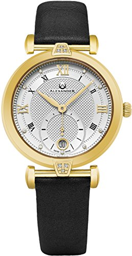 Alexander Monarch Olympias Date DIAMOND Silver Large Face Stainless Steel Plated Yellow Gold Watch For Women – Swiss Quartz Black Satin Leather Band Elegant Ladies Dress Watch AD202-03