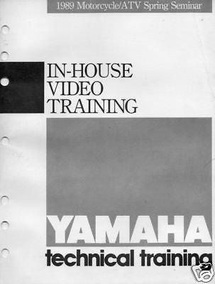 - 1989 YAMAHA MOTORCYCLE VIDEO TRAINING DEALER MANUAL
