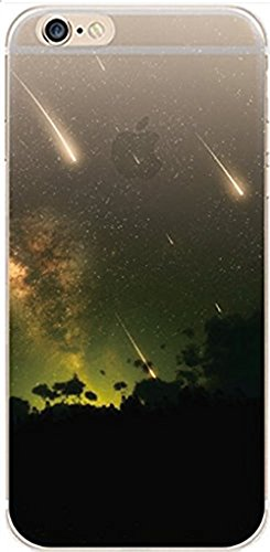 iPhone 6 / 6s Compatible , Designer Choice Collection Colorful Flexible Ultra Slim Transparent Translucent Apple iPhone Case Cover - Comets Night Falling Wishing Stars