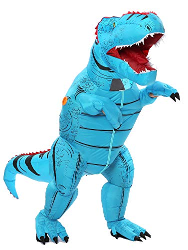 Funny Costumes Inflatable Dinosaur & Unicorn Hoodies Party Dress Halloween Suit (Dino Blue L)]()