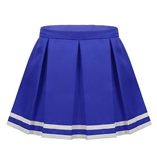 Cheerleaders Uniform Skirts - inlzdz Children Girls Box Pleated Mini Skirts Squad Cheer Leader Costume School Cheerleading Uniform Blue 7-8